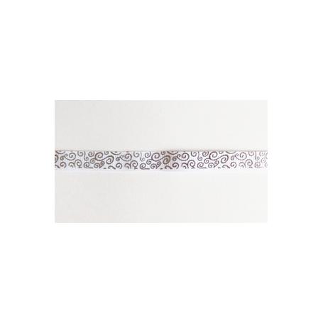 Ruban gros grain arabesques argentées