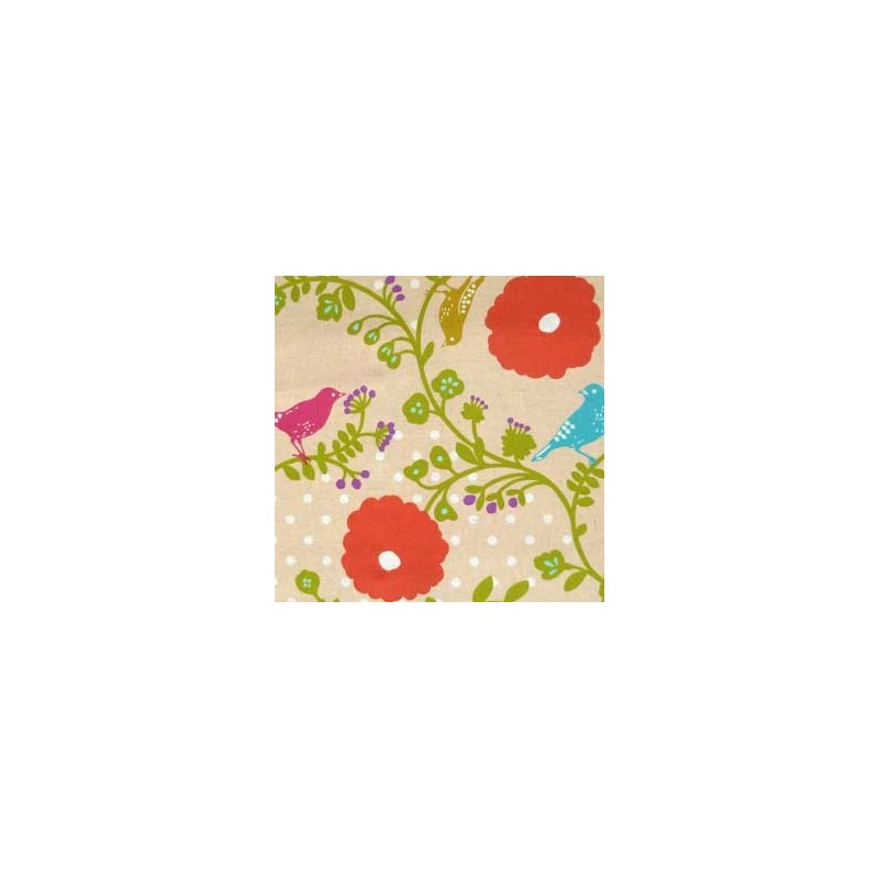 Tissu japonais Kokka Oiseaux fleurs rouges
